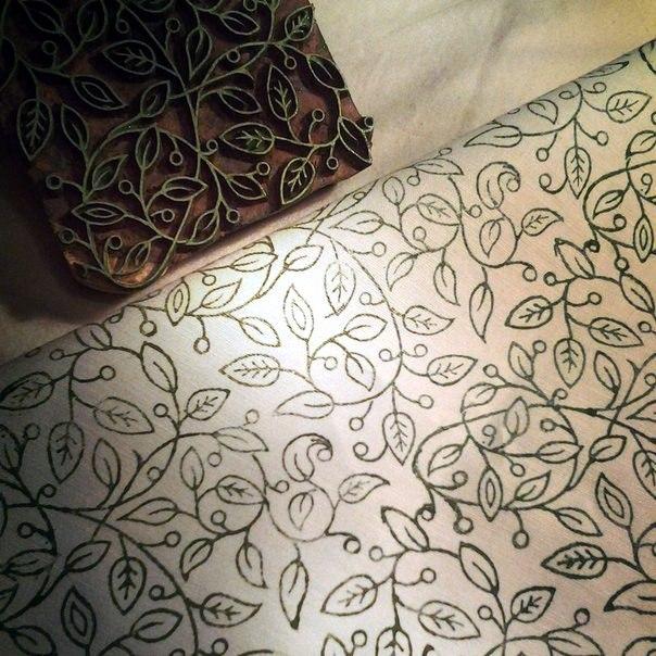Декор Ручная набойка на ткани